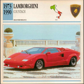 Vintage Car Card - Lamborghini Countach - Classic Cars