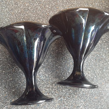 Italian black glass sundea dishes - Art Glass