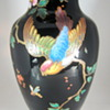 Harrach Enameled Vase in Black Amethyst glass, ca. 1880