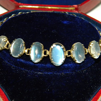 Antique Victorian Ceylon Moonstone 9ct 9k Bracelet  - Fine Jewelry