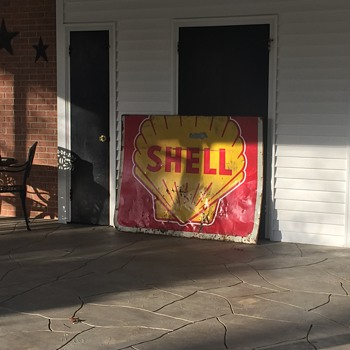 Antique 4' by 5' Shell Sign