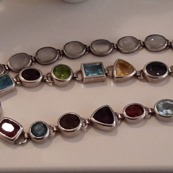 Two gem set bracelets in sterling silver