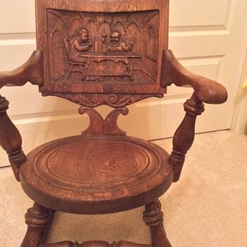 Rocking Chair with Monk  Carving.