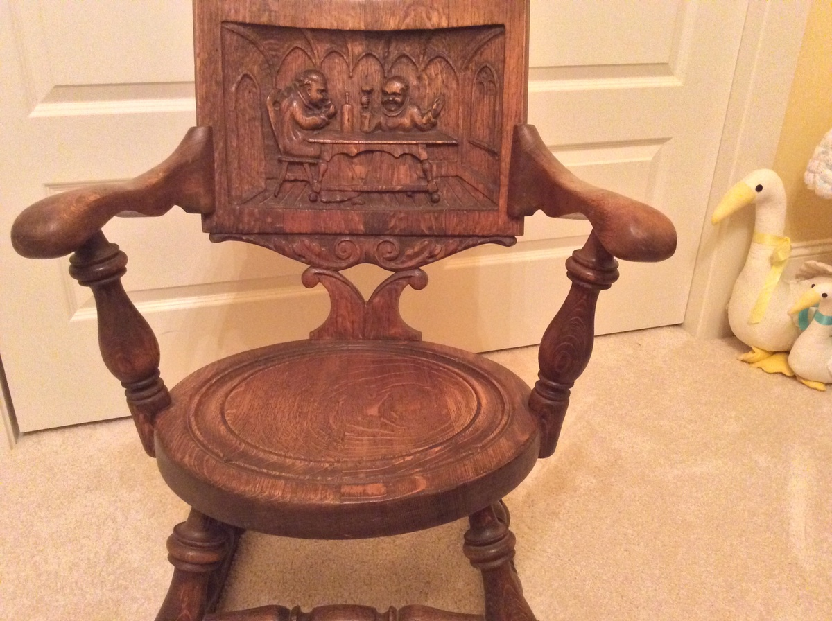 Very Impressive portraiture of rocking chair with monk carving in furniture rocking chairs show tell  with #C28009 color and 1200x896 pixels