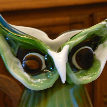 Hand Blown Multicolored Owl Vase