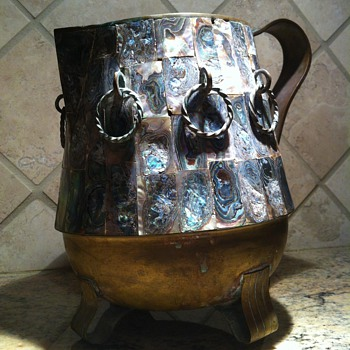 Rare Salvador Teran Abalone Overlaid Brass Pitcher - Kitchen