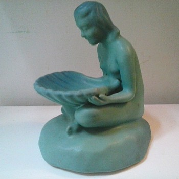 "Van Briggle Pottery 7.5"" ""Shell Maiden"" Figural/""Ming Blue"" Matte Glaze/Circa 1930's-1940 - Pottery"