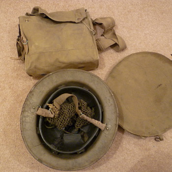 Complete British WW11 gas mask/carrier/helmet set.