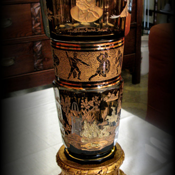 MOSER ENGRAVED AND GOLDEN CRYSTAL VASE