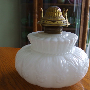 Ribboned Rosettes MILK GLASS Oil Lamp Font - Glassware