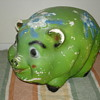 Big Vintage Carnival Chalk Pig Bank