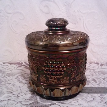 Northwood Grape & Cable Large Stippled Biscuit/Cracker/Cookie Jar - Glassware