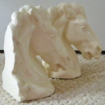 Vintage Deco Ceramic Stallion Horsehead Bookends