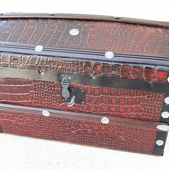 Alligator Embossed Metal Antique Doll Trunk - Dolls