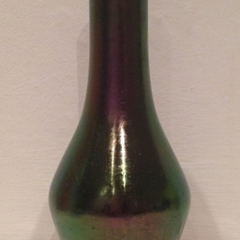 Rindskopf iridescent amethyst glatt vase hallmarked Birmingham 1903 - Art Glass