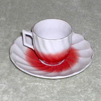 Red & White Porcelain Demitasse Cup & Saucer - China and Dinnerware