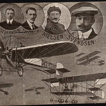 Danish flying pioneers on postcard sent 1911, quite rare postcard - Postcards
