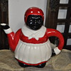 Mommy Porcelain buicque set - cookie or sugar jar, spoon holder, and a teapot. African American women.