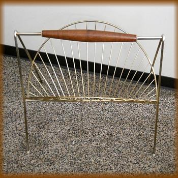 Vintage Wire & Teak magazine Stand
