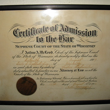 CERTIFICATE OF ADMISSION TO THE BAR ,SARTO S. BALLIET C.1927,AUTHENTIC  - Paper