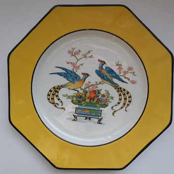 Johnson Brothers Eight Sided Dish Yellow with Two Birds - China and Dinnerware
