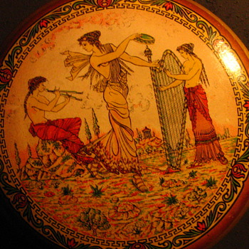Vanity Jar? With Greek Mythology Transfer Pattern - carnival Prize? - Art Pottery