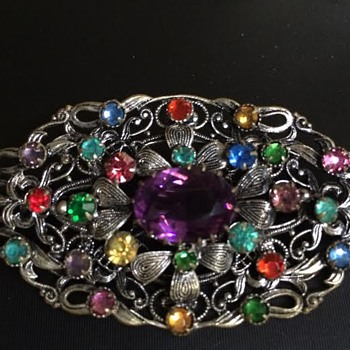 "Gorgeous metal brooch with Czech glass ""stones"""
