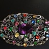 """Gorgeous metal brooch with Czech glass """"stones"""""""