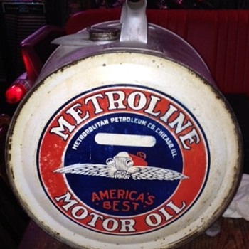 Metroline Motor Oil Five Gallon Rocker Can 1920's