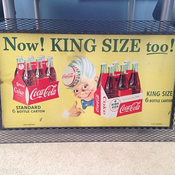 Mid 1950's Cardboard KING SIZE Sign - Coca-Cola