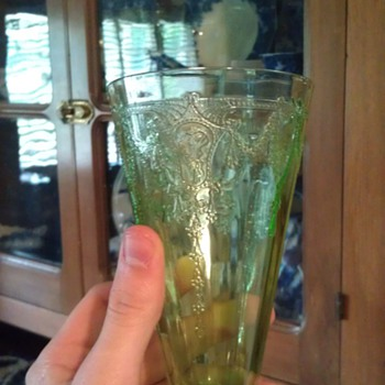 RARE Cameo Green 6 inch footed tumbler