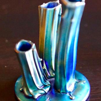 Signed Blue Steuben Aurene Rustic Stump #2744