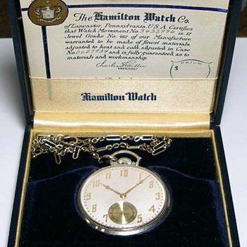 Cadillac 10 Year Faithful Service Award Watch by Hamilton in the Original Box - Pocket Watches