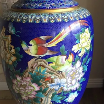 Large Asian Style Cloisonne Floor Vase in brass