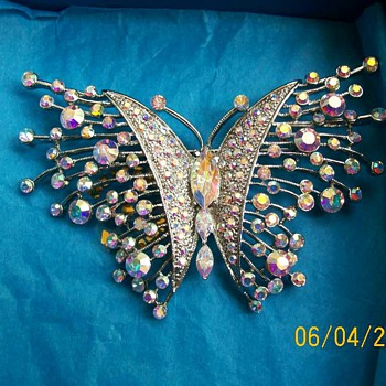 Huge Crystal Butterfly Brooch from Scandi came today :-) a Gift !! - Costume Jewelry