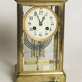 French brass & glass mantle clock