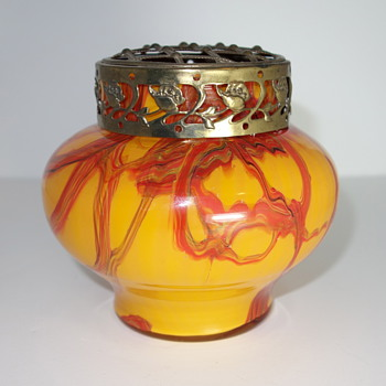Czech Glass furnace decorated vase with flower frog, 1930s