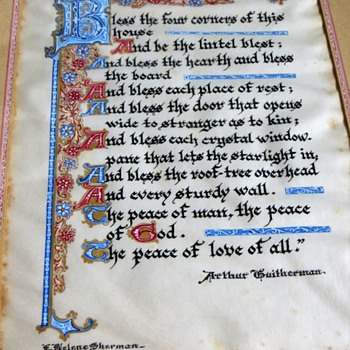 Original Illuminated House Blessing on real parchment by E. Helene Sherman - Paper