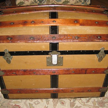 1880 Dome Top Canvas Covered Trunk - Furniture