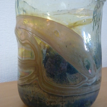 OVAL GLASS VASE...looks similar to early Isle of Wight Studio