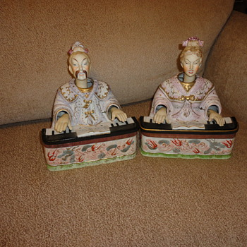 JAPANESE PORCELIN BOBBLEHEADS - Asian
