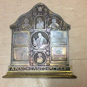 C1920 bronze wall plaque Italian religious pope/saints/churches