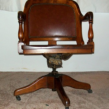 ANTIQUE BANKERS CHAIR MARBLE & SHATTUCK