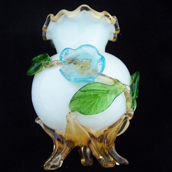Stevens Williams Applied Glass Flower, Rim, and Feet Vase - Art Glass
