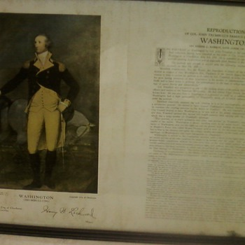VINTAGE FRAMED PRINT OF WASHINGTON