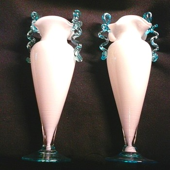 "Pair of 9"" Ruffle Top Trophy Vases/White Cased Glass With Applied Blue Handles/Unknown Maker/Circa 20th Century"
