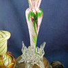 Ruckl oxblood & green, raspberry & green, yellow variegated, and pink variegated spatter glass vases