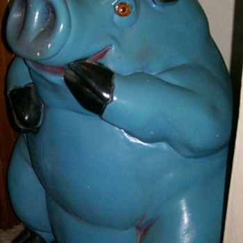 2ft Tall Blue piggy Bank . Glass eyes , Unmarked 