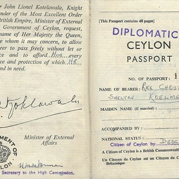 1955 Ceylon Diplomatic passport - Paper
