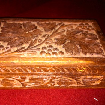 Antique Engraved Wooden Slide-to-Open Keepsake Box - Costume Jewelry
